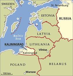 Hér má sjá Kaliningrad við Eystrasalt milli Litháens og Póllands.