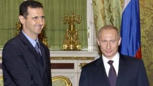 Bashar al-Assad Sýrlandsforseti og Vladimír Pútín Rússlandsforseti.