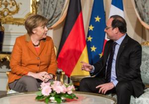 Angela Merkel og François Hollande í Strassborg.