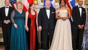 Kvöldverður í Hvíta húsinu: Sindre Finnes, Erna Solberg, Ingibjörg Elva Ingjaldsdóttir, Sigurður Ingi Jóhannsson, Maichelle Obama, Barack Obama.