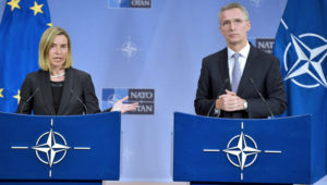 Federica Mogherini, utanríkis- og öryggismálastjóri ESB og Jens Stoltenberg, framkvæmdastjóri NATO.