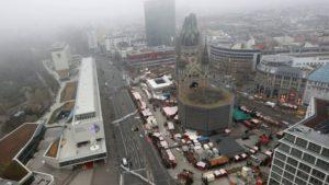 Hér sést yfir svæðið í Berlín þar sem hryðjuverkið var framið mánudaginn 19. desember.