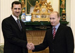 Bashar al-Assad og Vladimír Pútín.