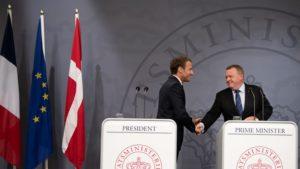 Emmanuel Macron og Lars Løkke Rasmussen á blaðamannafundi í Kristjánsborgarhöll.