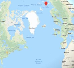 Rauði punkturinn er í Barentshafi, nálægt heimahöfnum rússneska Norðurflotans.
