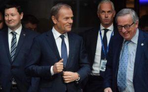 Donald Tusk, forseti leiðtogaráðs ESB, og Jean-Claude Juncker, forseti framkvæmdastjórnar ESB.