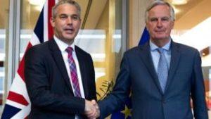 Stephen Barclay, brexit-ráðherra Breta, og Michel Barnier, brexit-samningamaður ESB.