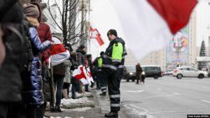 Frá Minsk-mótmælunum 29. desember 2019.