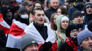 Frá mótmælafundi í Minsk.