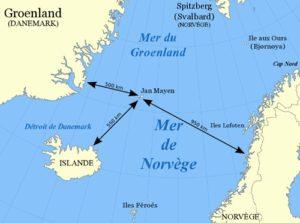 Á þessu franska landakorti má sjá fjarlægðir frá Jan Mayen til nágrannalanda.