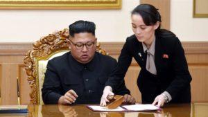 Systkinin Kim Jong-un og Kim Yo-jong.