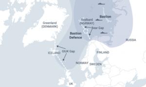 Þetta kort er í skýrslu Rand-hugveitunnar. Þar er dregin lína milli Noregs og Spitsbergen, Bjarnarhliðið. NATO vill halda rússneskum herskipum fyrir austan það.