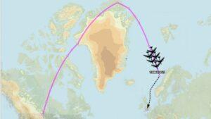Flugleið B-52-vélanna til Evrópu 21. ágúst 2020.
