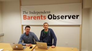 Atle Staalesen (t.v,) og Thomas Nilsen á ritstjórnarskrifstofu Barents Observer í Kirkenes.